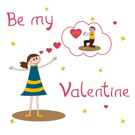 day dreaming: Greeting card for Valentines Day with girl dreaming about the boy Illustration
