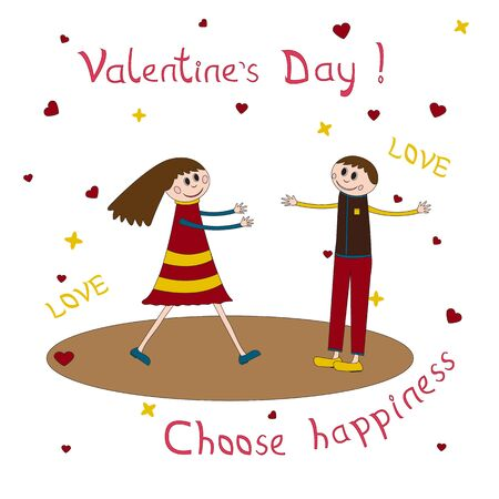 heterosexual: Greeting card for Valentines Day with couple love in on.