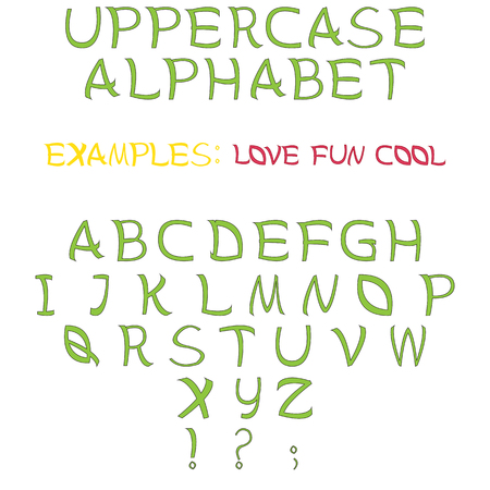 uppercase: Fun drawing set of letters for comic font. Uppercase alphabet of scribble handwritten font.