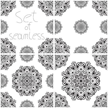 etnia: Conjunto de cuatro patrones sin fisuras con elementos de la mandala como este o adornos de Oriente Medio