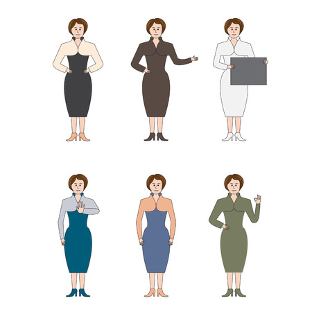 looking straight: Set of six business women for presentation and description of business products