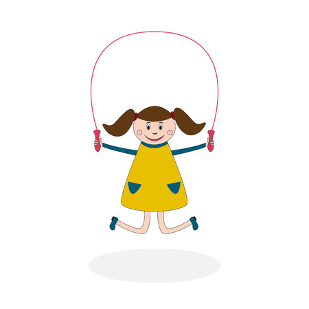 children play area: Girl with jumping rope or skipping rope having a good time on children play area