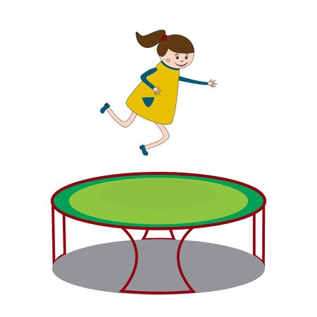 kinder garden: Girl is jumping on trampoline and having a good time on children play area Illustration