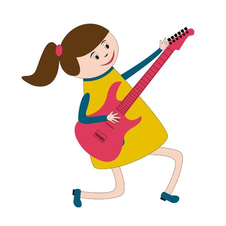 children play area: Little girl from music band is playing on electric gitara in kindergarten or in children play area