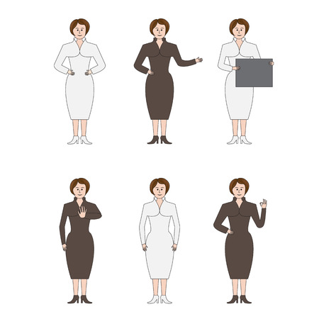 formal: Business woman with graph on isolated background in formal suit