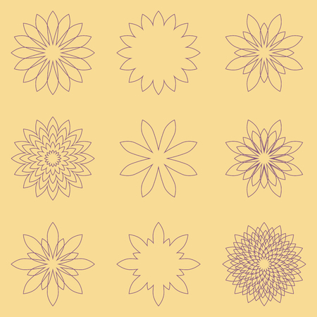 aster: Set of geometric flowers in doodle style - daisy, chrisanthemum, dahlia, aster