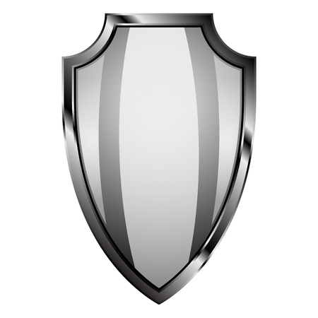 crusades: Realictic steel shield on isolated background. Shield as a part of knight ammunition: security of Middle Ages.