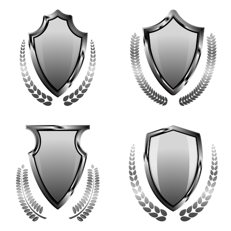 crusades: Realistic steel, silver shield with laurel wreath on isolated background. Shield as a part of knight ammunition: symbol of security in the Middle Ages and laurel wreath as a symbol of victory.
