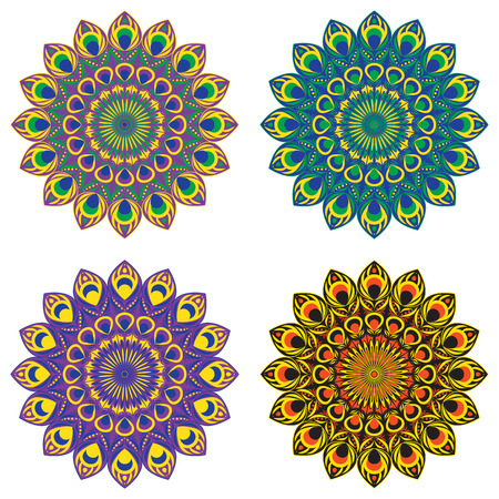 east indian: Set of vector ethnic circular patterns or mandalas with elements of peacock and firebird tail in east, indian, brazilian and mexican style.