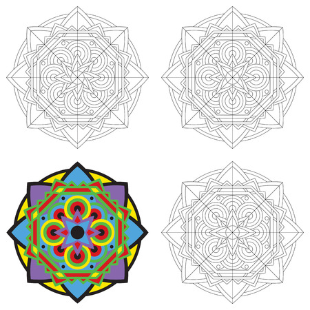 Set Of Black And White Circular Patterns Or Mandalas On Isolated Background For Coloring Book