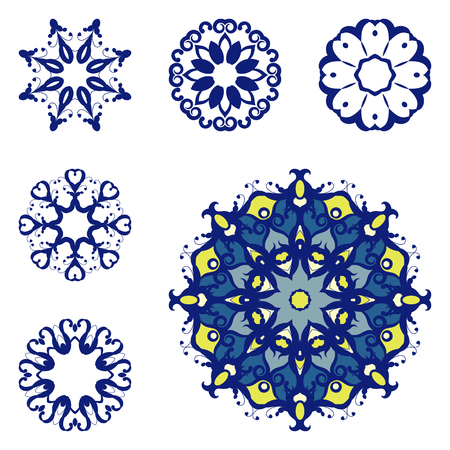 mandalas: Set of mandalas on isolated background. Graphic templates for floral design, vintage decorative element in arabic, indian style. Anti-stress therapy patterns. Yoga Oriental snowflakes vector.