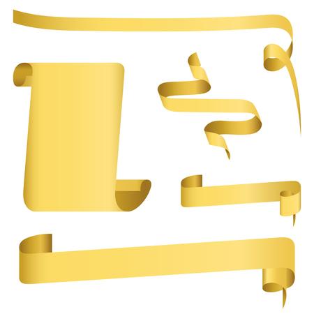 Set of golden rusty scrolls Illustration