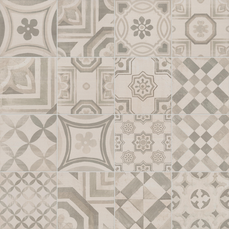 Beige Portuguese mosaic tiles azulejos with abstract patterns texture background.