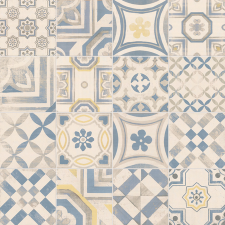 Beige and blue Portuguese mosaic tiles azulejos texture background. Patchwork seamless abstract pattern.