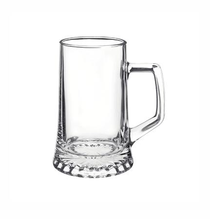 Empty glass beer mug isolated on white background.