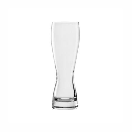 Empty beer glass isolated on white background. Side view. Stock Photo