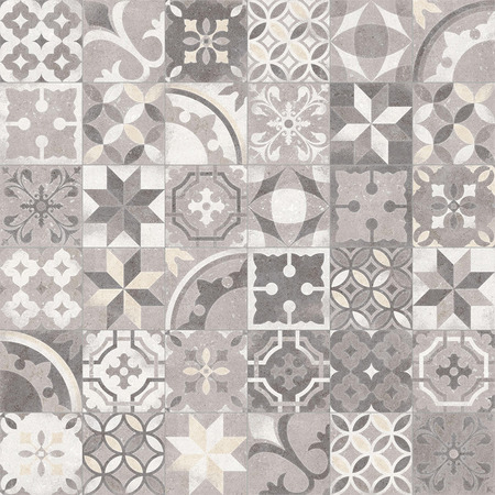 Portuguese monochrome mosaic tiles azulejos texture background. Patchwork seamless abstract pattern.