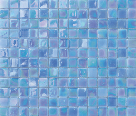 Bright iridescent blue mosaic tiles texture background. 免版税图像