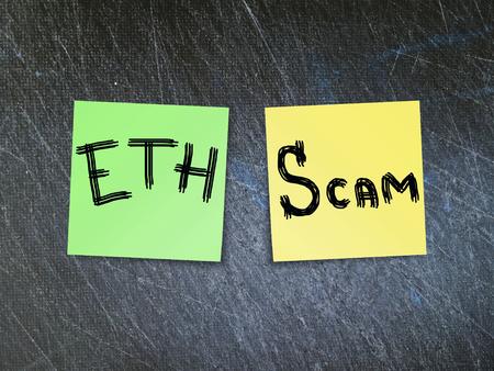 Ethereum (ETH) crypto currency scam concept. 版權商用圖片