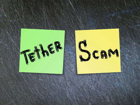 Tether (USDT) crypto currency scam concept.