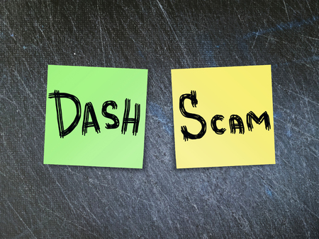 DASH crypto currency scam concept. 版權商用圖片
