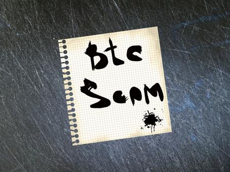 Bitcoin (BTC) cryptocurrency scam. 版權商用圖片