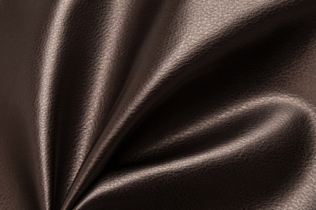 Dark brown eco leather. Artificial leather. Synthetic leather. Leatherette background. Stock Photo - 119456414