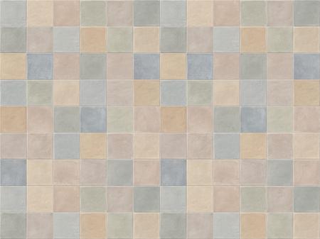 Azulejos de mosaico cerámico cuadrado beige, azul, rosa y verde pastel. Fondo de pared de azulejos de color pastel.