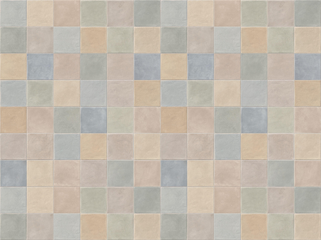 Pastel beige, blue, pink and green square ceramic mosaic tiles. Pastel color tiles wall background.