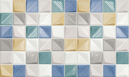 White, yellow, blue, green and grey convex ceramic tiles with rough surface. Colourful glossy mosaic tile wall background.