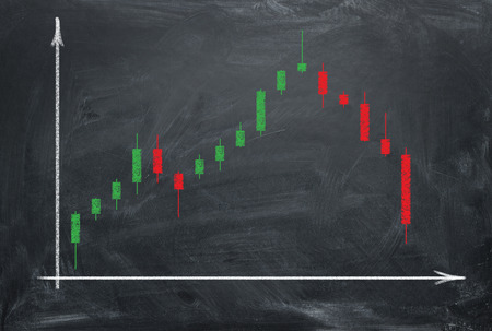 Growing and falling market graph with green and red business candles on blackboard painting chalk. Trading market concept.