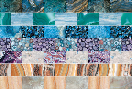 Bright mottled coloured marble, granite, quartz, agate, amethyst, topaz and malachite mosaic tiles background. Gemstone tiles with natural pattern.