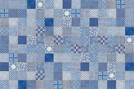 Blue and white Portuguese mosaic tiles azulejos with abstract patterns texture background.