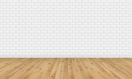 Empty room with brown wooden floor and classic white metro tiles wall. Empty loft room for design interior. Long wide picture of empty living space room.