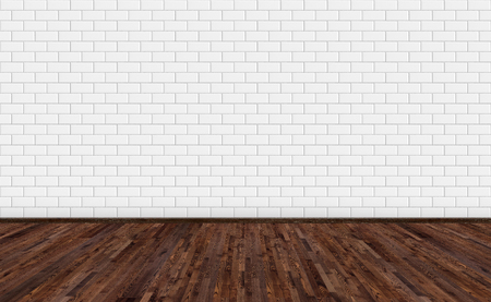 Empty room with dark brown ash wood floor and classic white metro tiles wall. Long wide picture of empty living space room for design interior. Banco de Imagens