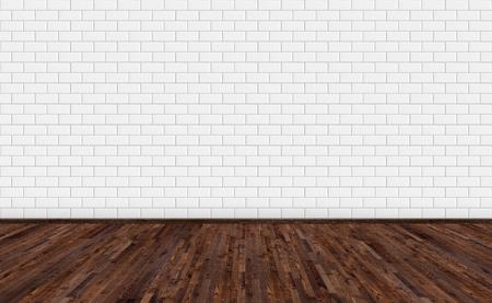 Leerer Raum mit dunkelbraunem Eschenholzboden und klassischer weißer Metrofliesenwand Langes, breites Bild des leeren Wohnraums für Design-Interieur. Standard-Bild