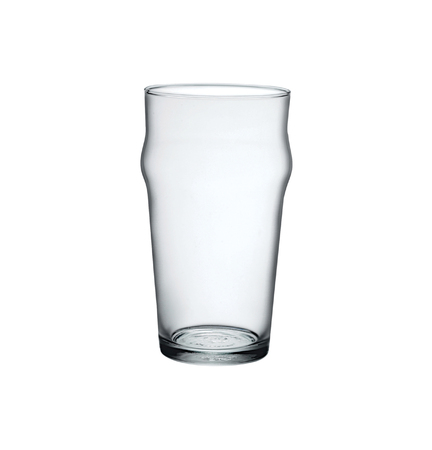 Empty pint beer glass isolated on white background. Side view.