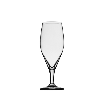 Empty elegant beer glass isolated on white background. Side view.
