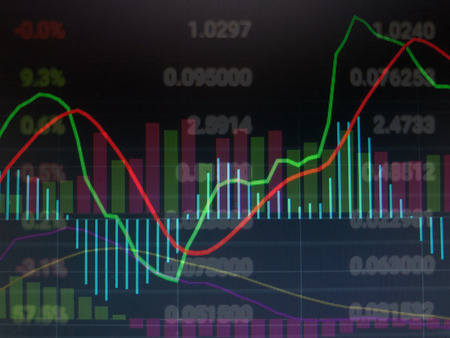 Stock market trading graph with indicators, business candles and price quotes. Blurred forex trading graph and finance chart on monitor. Stock Photo