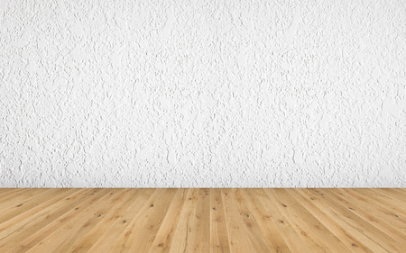 Empty room with brown wooden floor and white painted wall with rough surface. 3D illustration of empty living space room for design interior.
