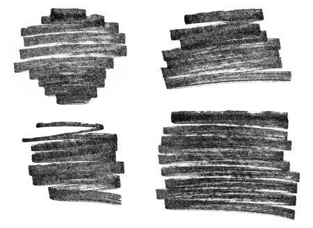 Set of black permanent marker strokes isolated on white background.