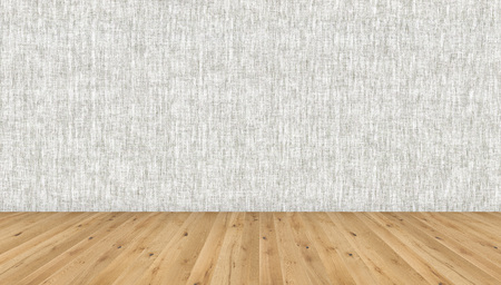 Empty room with brown wooden floor and grey wallpaper. 3D illustration of empty living space room for design interior.