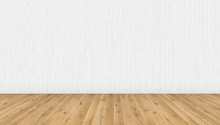 Empty room with brown wooden floor and white striped wallpaper. 3D illustration of empty living space room for design interior.