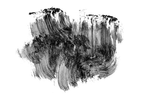 Abstract black brush strokes isolated on white background.