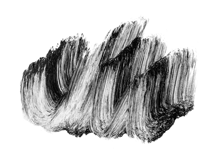Abstract black brush strokes isolated on white background. Handmade brush smears.