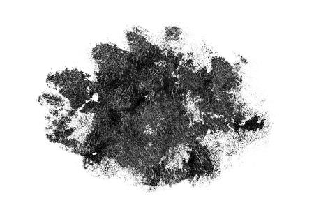 Abstract black brush blot isolated on white background. Acrylic brush stain.