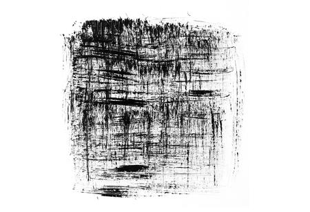 Black grunge brush strokes isolated on white background. Abstract brush smears. Imagens