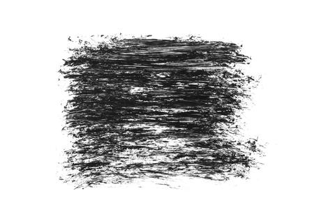 Black grunge brush strokes isolated on white background.