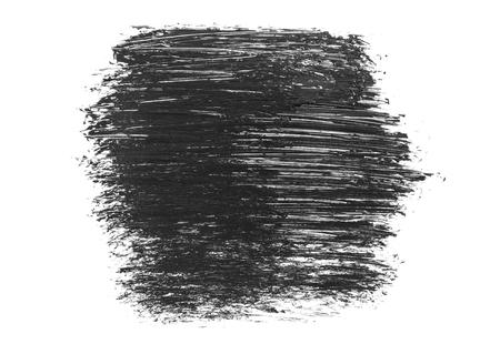 Black grunge brush strokes and smears isolated on white background.