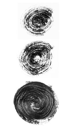 Set of black brush circles isolated on white background. Abstract acrylic brush drawing. Imagens